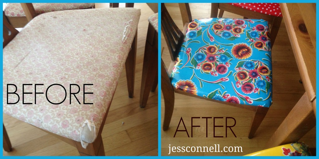 Oilcloth Chairs BeforeAfter JessConnell.com