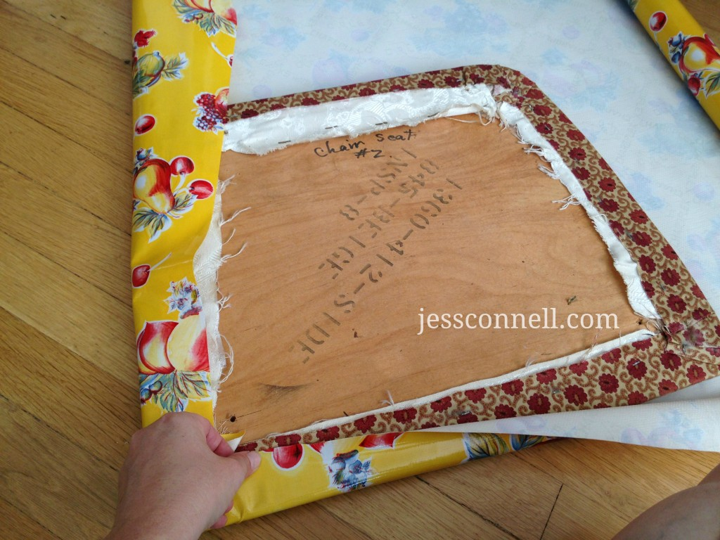 Kid-friendly Oilcloth Dining Chairs Tutorial // JessConnell.com