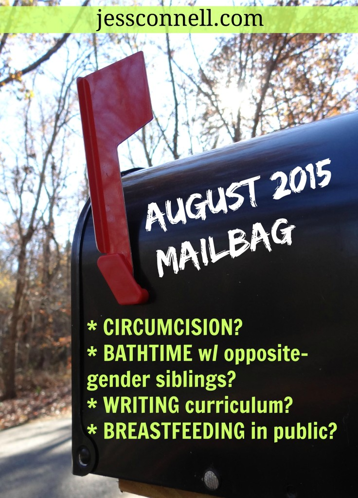 August 2015 Mailbag // jessconnell.com // circumcision? bathtime w/ opposite-gender siblings? writing homeschool curriculum? breastfeeding in public?